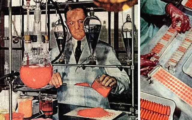 laboratório de maquiagem da década de 1950