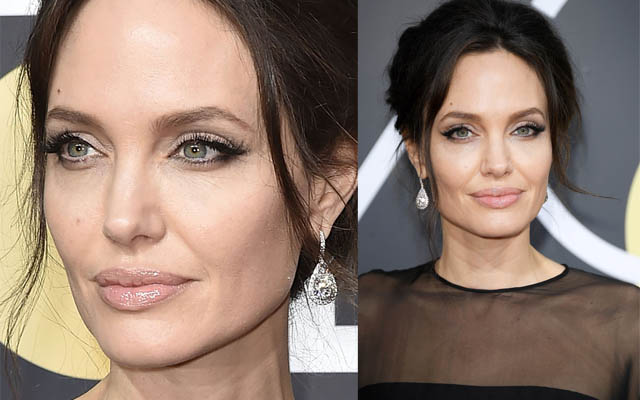 Angelina Jolie no Golden Globes 2018 - Pele mega iluminada