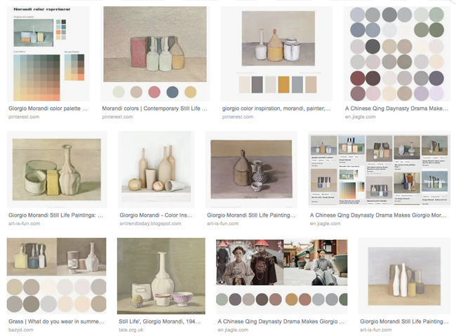 A paleta de cores de Morandi